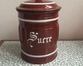Vintage French enamel sucre jar