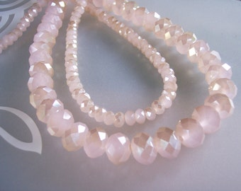 30 Blush Pink 20% Off Champage 12 and 5mm faceted Duo-Tone Czeck Glass Beads