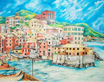 Original Cinque Terre Italian Seaport Village Watercolor Painting