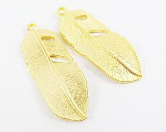 2 Feather Charms - 22k Matte Gold Plated - Updated