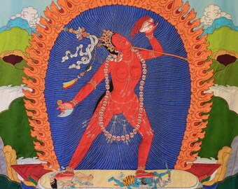 Large Vajra Yogini silk applique thangka Traditional Tibetan Vajrayana art
