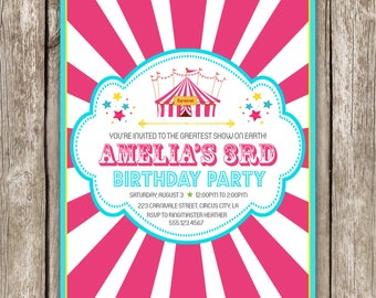 Carnival Birthday Invitation - Pink Carnival Circus Birthday Party - DIY Printable