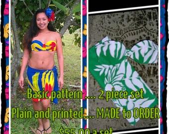 Hawaiian Print Pareau and Bra Set