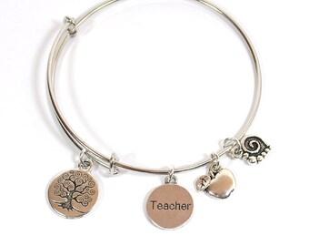Teacher - Adjustable Bangle Bracelet With 4 Charms (B-017t)