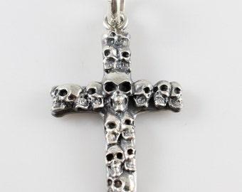 Handmade Sterling Silver Multi Skulls Cross Pendant