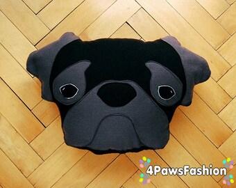 DONALD  black grey Pug pillow OOAK / 4PawsFashion