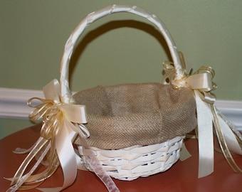BURLAP & WICKER Flower Girl Basket, Wedding, Wicker Flower Girl Basket, Ivory Flower Girl Basket