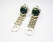 SWANK Cufflinks / Mesh Wrap / silvertone / thermoset Front / Enamel / Men Wedding Jewelry / Groom Best Man / Formal Wear / Cuff Links