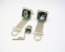 Cufflinks Tie Tack / DANTE / Mesh Wrap / Rivoli Glass / Suit Accessory / Formal Wear / Men Wedding Jewelry / Groom Best Man / Cuff Links