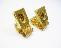 SWANK Cufflinks / gold tone / Mesh Wrap / Amber Color Rhinestone / Formal Wear / Groom Gift / Man Wedding Jewelry / Cuff Links