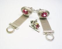 Mesh Wrap Cufflinks, Tie Tack Set / Silver tone, DANTE / Formal Wear / Men Wedding Jewelry / Groom Best Man / Cuff Links