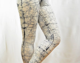Batik leggings.cotton black and white leggings.Hand made leggings.hand painted cotton spandex leggings.