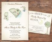 Vintage Wedding Map, Watercolor Wedding Map Invitation, Destination Wedding, Elopement Announcement, Elopement Reception, Any Location,