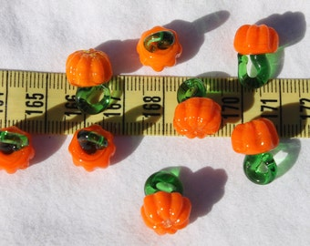11x16.5mm Pumpkins Handmade Lampwork Glass Pendants Charms Beads Orange/10pcs