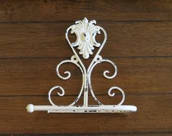 Toilet Paper Holder/ Antique White or Pick Color/ Shabby Chic Bathroom Accessories / Tissue Holder / TP Hanger / Cottage Chic Bathroom