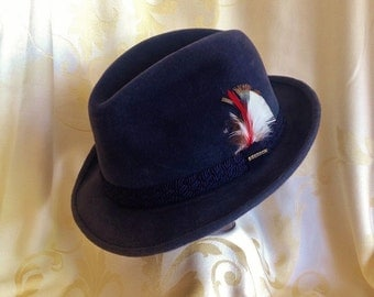 "ViNTAGE SoVEREIGN STETSON BLUE 7-1/4"" FuR FeDORA HAT, MeN's ViNTAGE HaT, ShaRP DrESSED MaN, MeN's FaSHION AccEssories,"