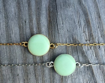 Mint Necklace - Green & Gold Necklace - Aqua Jewelry - Modern Minimalist - Simple Everyday - Mom - Gift for Her - Personalized Gift