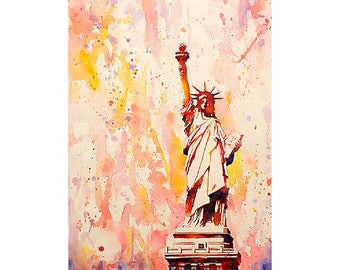Statue of Liberty on Liberty Island in New York Harbor. New York art Watercolor painting Fine art print painting Statue of Liberty painting
