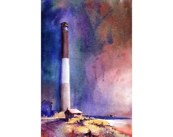 Watercolor painting of Oak Island lighthouse in North Carolina.  North Carolina lighthouse.  Lighthouse watercolor painting.  Lighthouse art