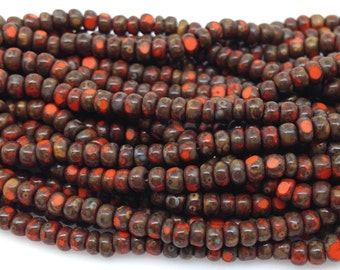 New! 3 Strands Vibrant Orange Czech Picasso Glass Seed Beads 3mm