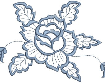 flower and leaves  - Machine Embroidery Design
