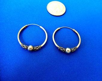 Vintage Style Pierced Earrings Silver Hoops