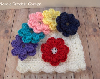 Baby Girl Crochet Hat with Removable/Interchangeable Flowers (Choice of 4 colors)
