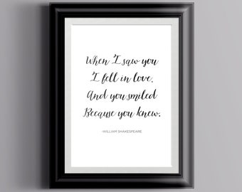 Shakespeare Love Quote Calligraphy Poster | Digital Download Wall Art  | Typography Print | Literature | Classic Books Instant Art