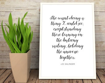 JD Salinger Quote Calligraphy Poster | Digital Download Wall Art  | Typography Print | Literature | Classic Books Instant Art