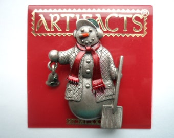 Vintage Signed JJ Silver pewter Snowman with Bell and Spade Brooch/Pin