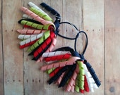 CLEARANCE- Korker Ribbon Pigtails- Red, White, Dark Navy Blue, Light Pink, and Pale Green, M2M Gymboree Cherry Cute, Made in USA, Grosgrain