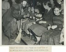 Clown Emmett Kelly w blind children 1940s circus photo