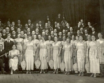 Russiai folk music band on stage antique photo