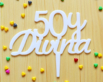 Custom age Cake Topper  50 and Devine