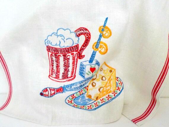 Embroidered German Bar Towel, Kitchen Towel, Beer, Pretzels, Cheese, Linen Tea Towel, Bar Towel, Housewarming or Hostess Gift