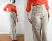 70s Rainbow Gingham Palazzo Pants Multicolor Trousers High Rise High Waist Wide Leg Career Pants // Small Medium
