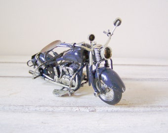 Navy blue motorbike miniature, vintage, metal miniature, Harley type bike, shabby decor, alloy bike, retro collectible bike, early nineties
