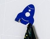 Retro Spaceship Coat Rack / Space Rocket Towel Hook / Colorful Nursery Wall Art / Functional Wall Decor