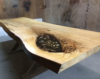 Ontario Live Edge Table Slab Table Single Slab Living Edge Boardroom table Live Edge Dining Table