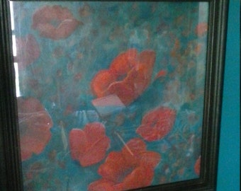 Poppies on Teal Original art painting