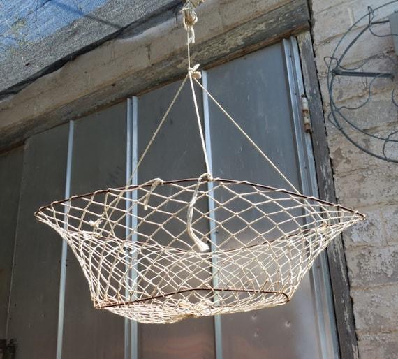 Vintage fishing crab and fish net rustic nautical decor - Trap decor ...