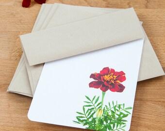 Red Marigold Custom Stationery Set, Spring Notecard Gift