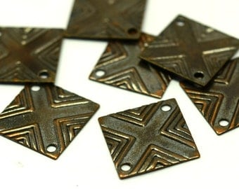 35 Pcs Copper Plated  13x13 mm Strriped Square Shape , Pendants, Findings