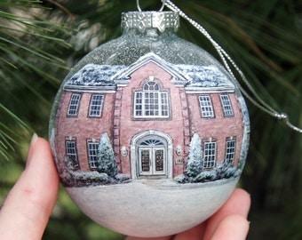Custom Home Hand-painted Glass Christmas Ornament