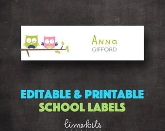 School Labels PRINTABLE & EDITABLE