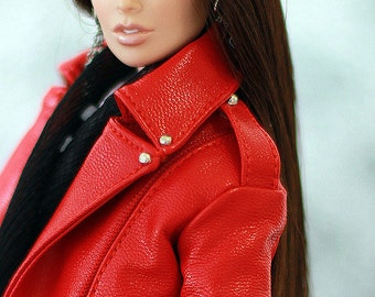Red leather biker jacket for Fashion Royalty FR2 with full satin lining and functional tiny zippers.