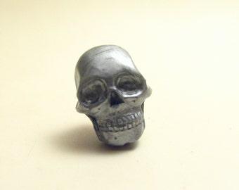 Tiny silver Skull lapel pin