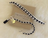 Little Black Bracelet + Heart & Tassel - silver hardware