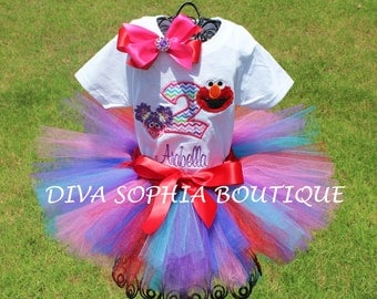 Personalized Elmo and Abby Tutu Set with Number