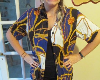 Vintage Women's Short Sleeve Button Down Shirt w/ Crazy Gold Necklace Pattern Print- Blue, Red, Gold and Black Pattern